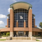 An image of Hurst City Hall In Hurst, Texas.  Hurst City Hall was designed by Ron Hobbs and was constructed in 1997.  This image © Capitolshots Photography/TwoFiftyFour Photos, LLC, ALL RIGHTS RESERVED.