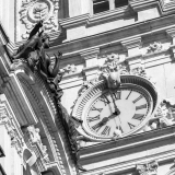 A photo of the clock tower, featuring a clock installed by Cyrille Duquet, atop the Quebec Parliament Building (Hotel du Parlement du Quebec).  Designed by Eugene-Etienne Tache, the Quebec Parliament Building, a Second Empire masterpiece, was built in Quebec City between 1877 and 1886.  This photo © Capitolshots Photography/TwoFiftyFour Photos, LLC, ALL RIGHTS RESERVED.