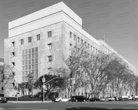An image of the San Francisco Hall Of Justice, officially the Thomas J. Cahill Hall Of Justice, in San Francisco, California.  The San Francisco courthouse, completed in 1960, not only is home to the criminal courts for the City and County of San Francisco but also is home for the San Francisco Police Department and Jail.  This image © Capitolshots Photography/TwoFiftyFour Photos, LLC, ALL RIGHTS RESERVED.