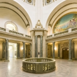 An image inside the Saskatchewan Legislative Building rotunda.  Completed in Regina in 1912, the stone Beaux-Arts structure was designed by Edward and William Sutherland Maxwell.  The Saskatchewan Legislative Building has been designated a National Historic Site of Canada.  This image © Capitolshots Photography/TwoFiftyFour Photos, LLC, ALL RIGHTS RESERVED.