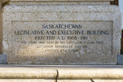 A photo of the cornerstone of the Saskatchewan Legislative Building in Regina.  Designed by Edward and William Sutherland Maxwell in a Beaux-Arts style, the Saskatchewan Legislative Building, designated a National Historic Site of Canada, was completed in 1912.  This photo © Capitolshots Photography/TwoFiftyFour Photos, LLC, ALL RIGHTS RESERVED.