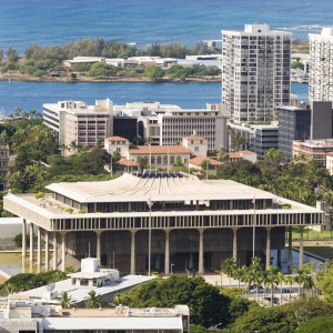 Hawaii State Capitol From Punchbowl Crater